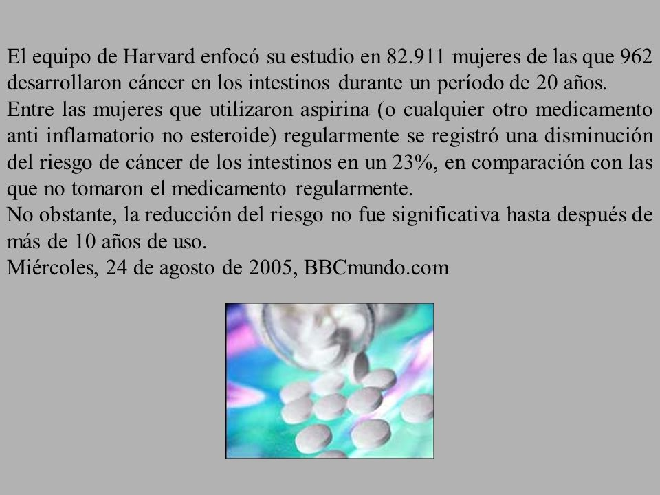El equipo de Harvard enfocó su estudio en 82.911 mujeres de las que 962 desarrollaron cáncer en los intestinos durante un período de 20 años. Entre la
