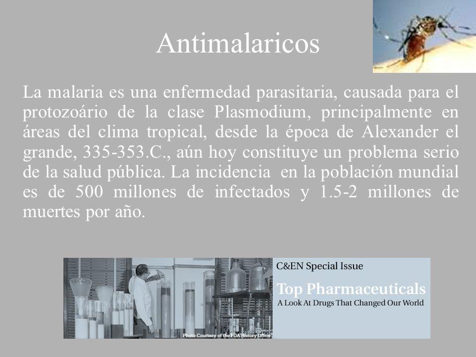 Antimalaricos La malaria es una enfermedad parasitaria, causada para el protozoário de la clase Plasmodium, principalmente en áreas del clima tropical