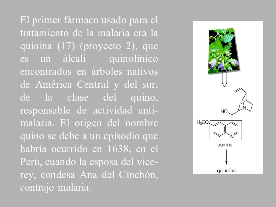 El primer fármaco usado para el tratamiento de la malaria era la quinina (17) (proyecto 2), que es un álcali quinolínico encontrados en árboles nativo