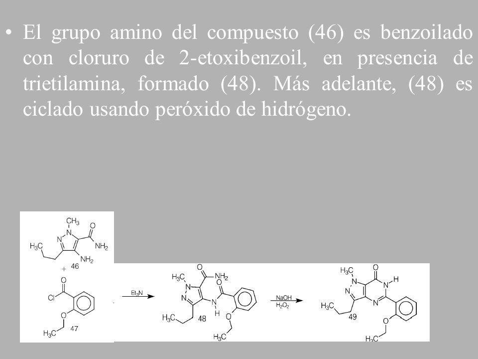El grupo amino del compuesto (46) es benzoilado con cloruro de 2-etoxibenzoil, en presencia de trietilamina, formado (48). Más adelante, (48) es cicla