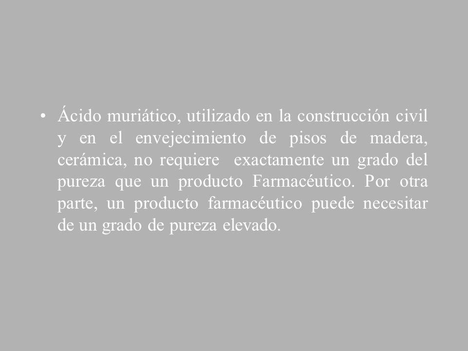Ácido muriático, utilizado en la construcción civil y en el envejecimiento de pisos de madera, cerámica, no requiere exactamente un grado del pureza q