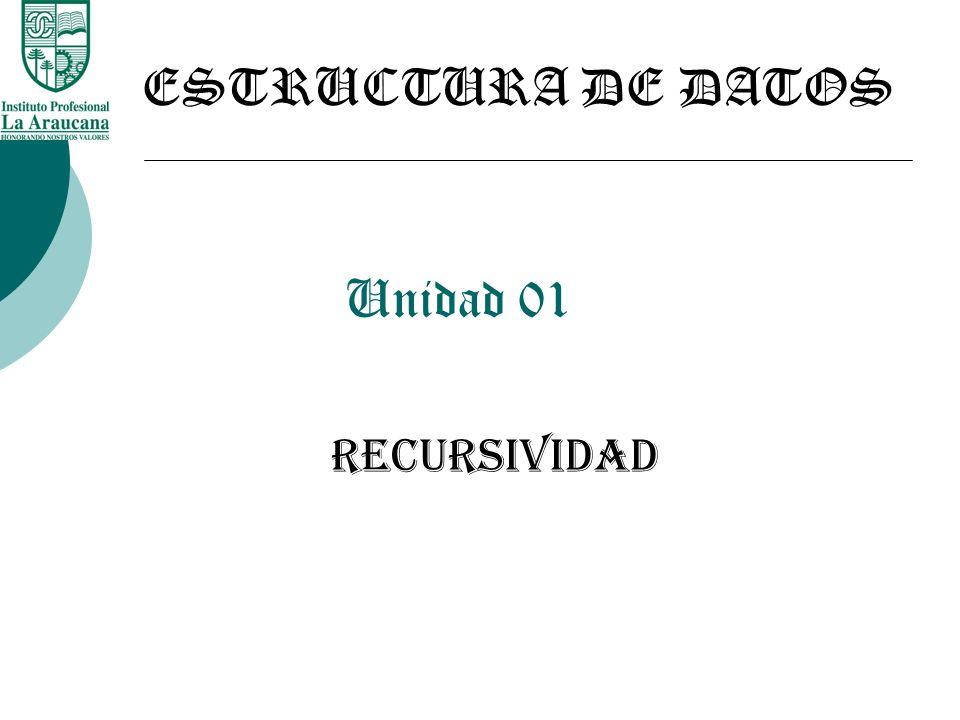 Unidad 01 RECURSIVIDAD ESTRUCTURA DE DATOS