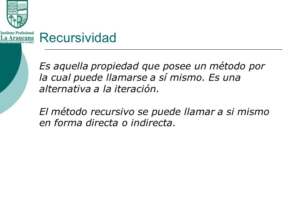 Recursividad Recursividad Directa.Metodo f() contiene una sentencia que invoca a f().