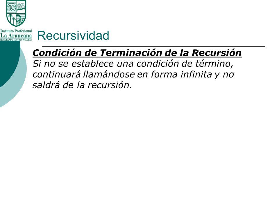 Recursividad Condición de Terminación de la Recursión Si no se establece una condición de término, continuará llamándose en forma infinita y no saldrá