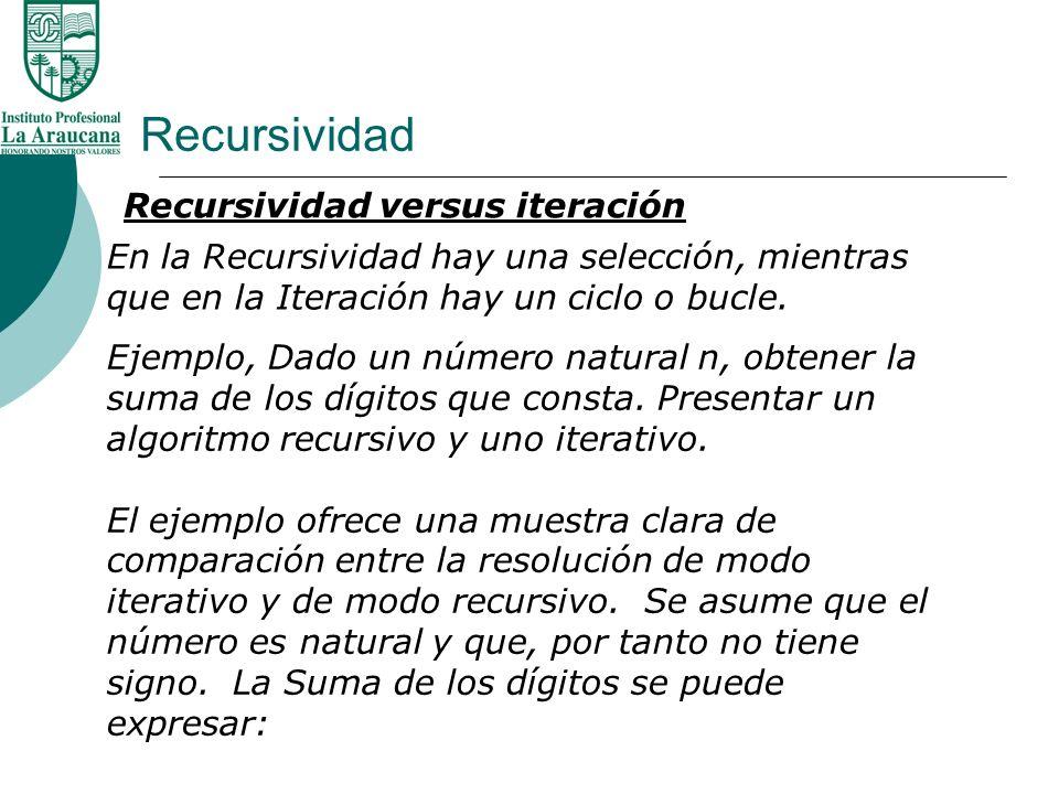 Recursividad Recursividad versus iteración En la Recursividad hay una selección, mientras que en la Iteración hay un ciclo o bucle. Ejemplo, Dado un n