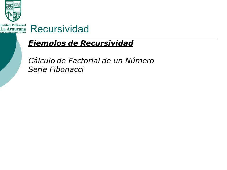Recursividad Ejemplos de Recursividad Cálculo de Factorial de un Número Serie Fibonacci