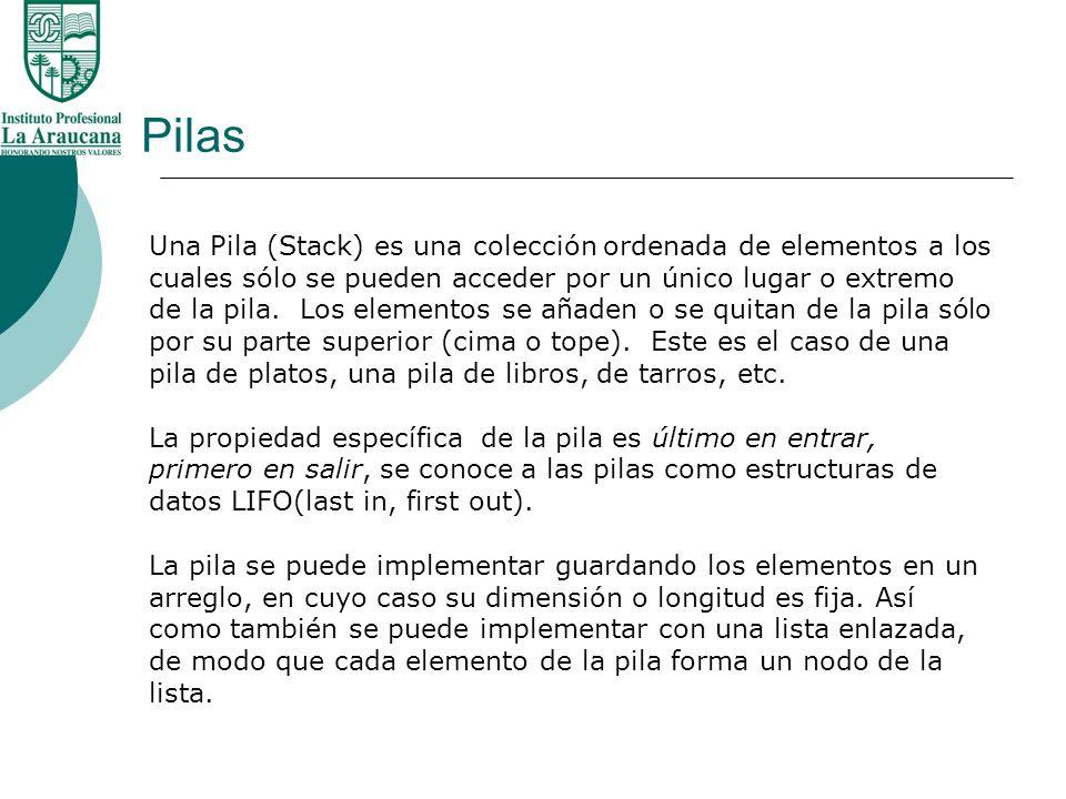Pilas Una Pila (Stack) es una colección ordenada de elementos a los cuales sólo se pueden acceder por un único lugar o extremo de la pila. Los element