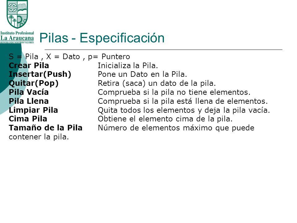 Pilas - Especificación S = Pila, X = Dato, p= Puntero Crear PilaInicializa la Pila. Insertar(Push)Pone un Dato en la Pila. Quitar(Pop)Retira (saca) un