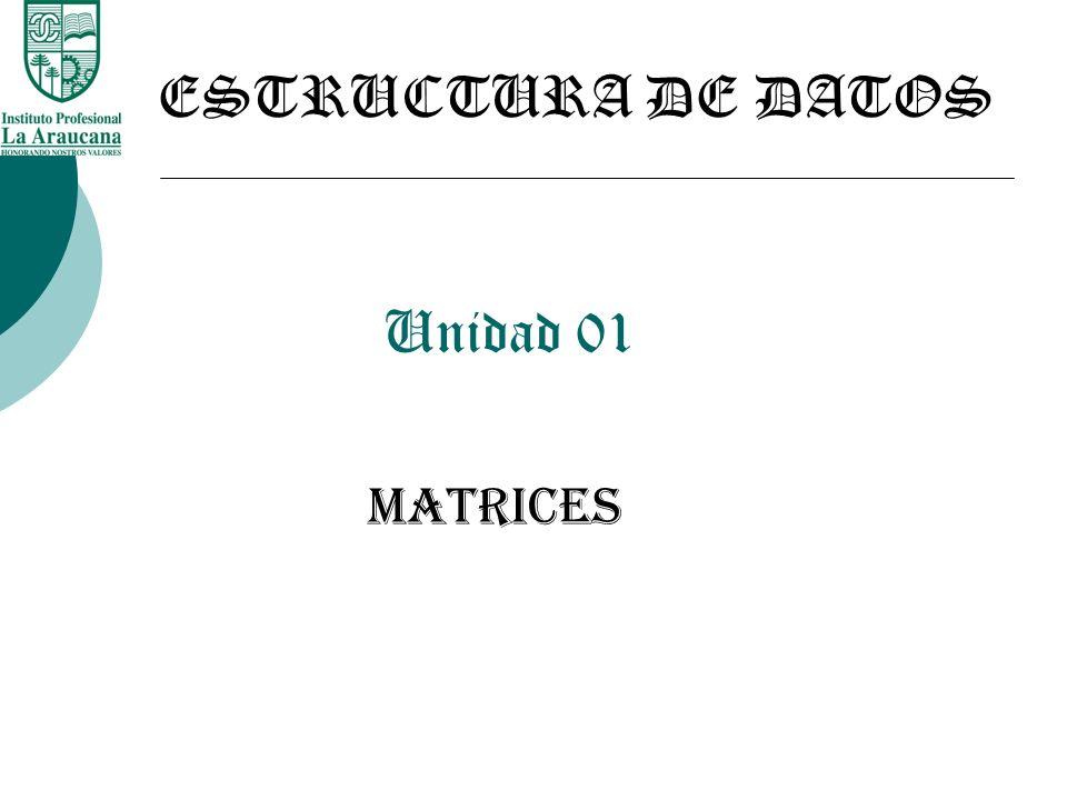 Unidad 01 MATRICES ESTRUCTURA DE DATOS