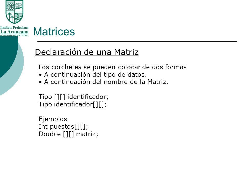 Matrices Declaración de una Matriz Los corchetes se pueden colocar de dos formas A continuación del tipo de datos. A continuación del nombre de la Mat