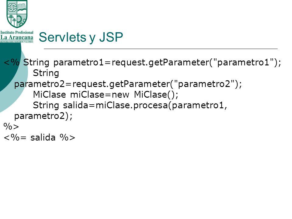 Servlets y JSP <% String parametro1=request.getParameter(