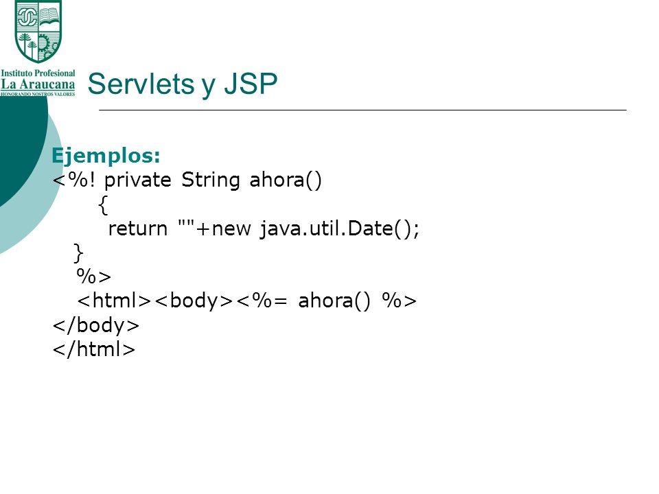 Servlets y JSP Ejemplos: <%! private String ahora() { return