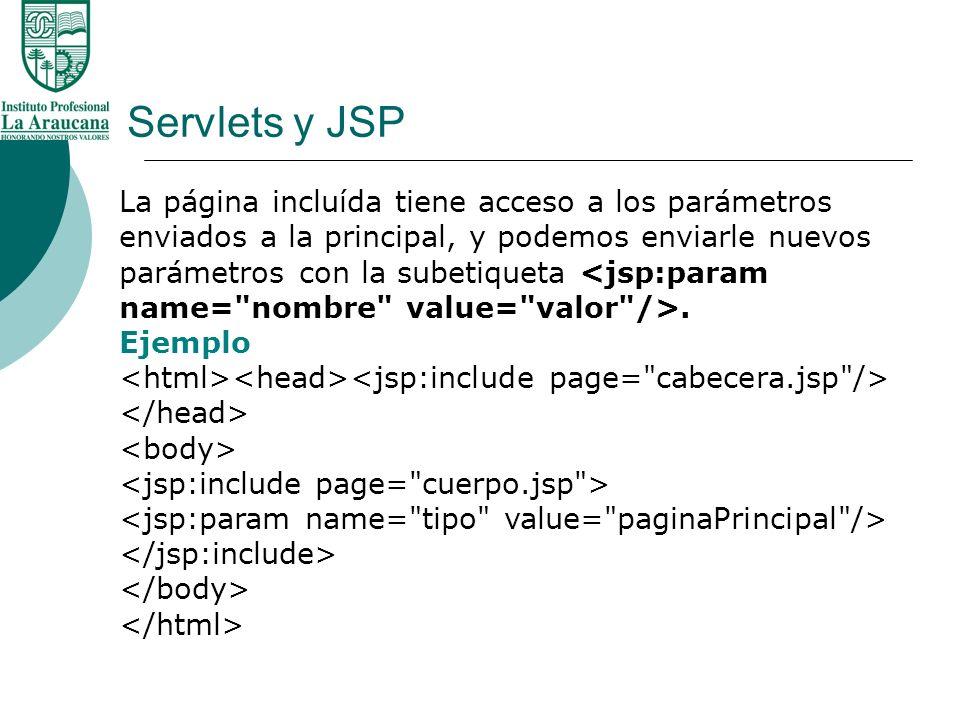Servlets y JSP La página incluída tiene acceso a los parámetros enviados a la principal, y podemos enviarle nuevos parámetros con la subetiqueta. Ejem