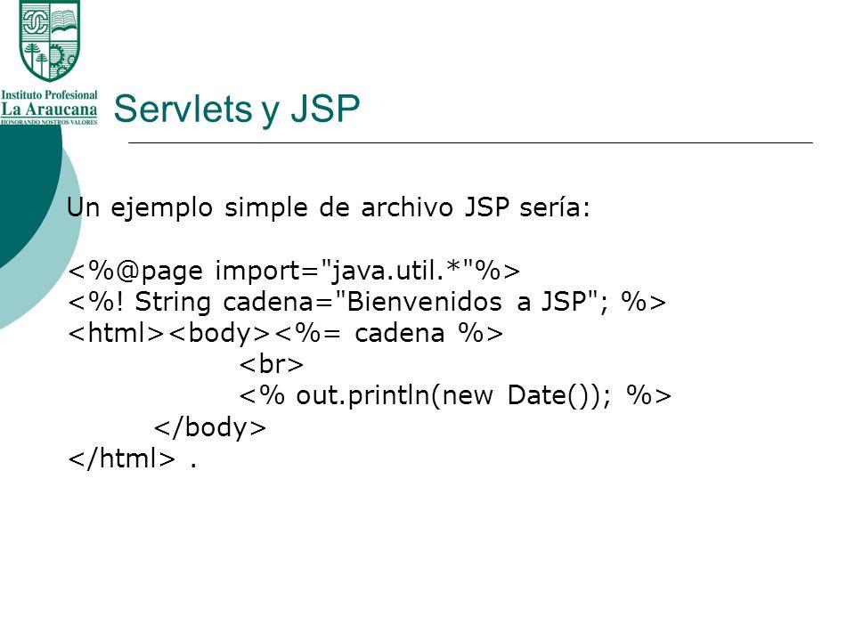 Servlets y JSP Un ejemplo simple de archivo JSP sería:.