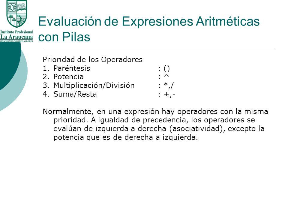 Evaluación de Expresiones Aritméticas con Pilas Prioridad de los Operadores 1.Paréntesis: () 2.Potencia : ^ 3.Multiplicación/División : *,/ 4.Suma/Res