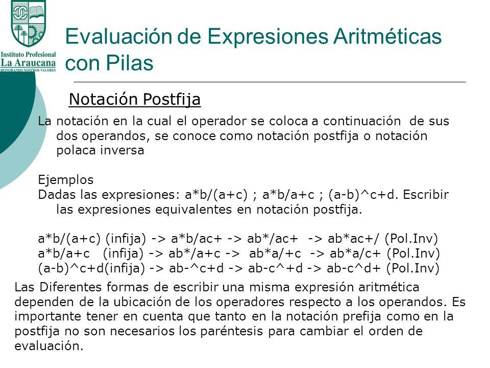 Evaluación de Expresiones Aritméticas con Pilas Notación Postfija La notación en la cual el operador se coloca a continuación de sus dos operandos, se