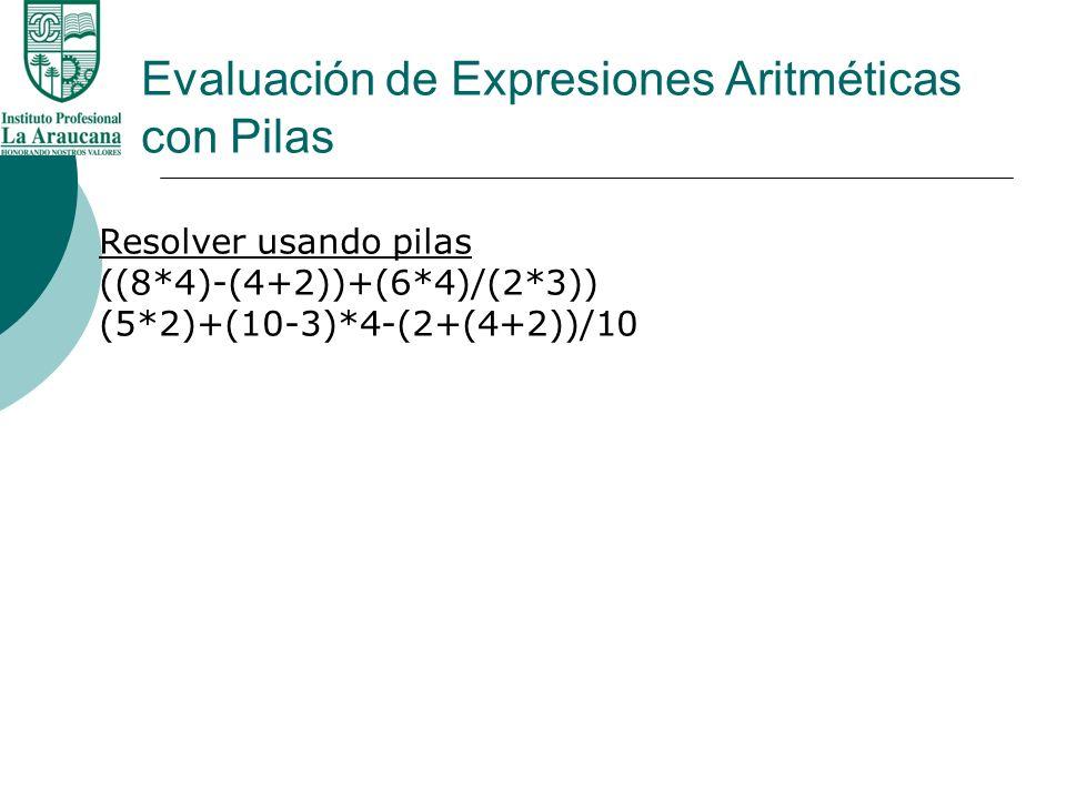 Evaluación de Expresiones Aritméticas con Pilas Resolver usando pilas ((8*4)-(4+2))+(6*4)/(2*3)) (5*2)+(10-3)*4-(2+(4+2))/10