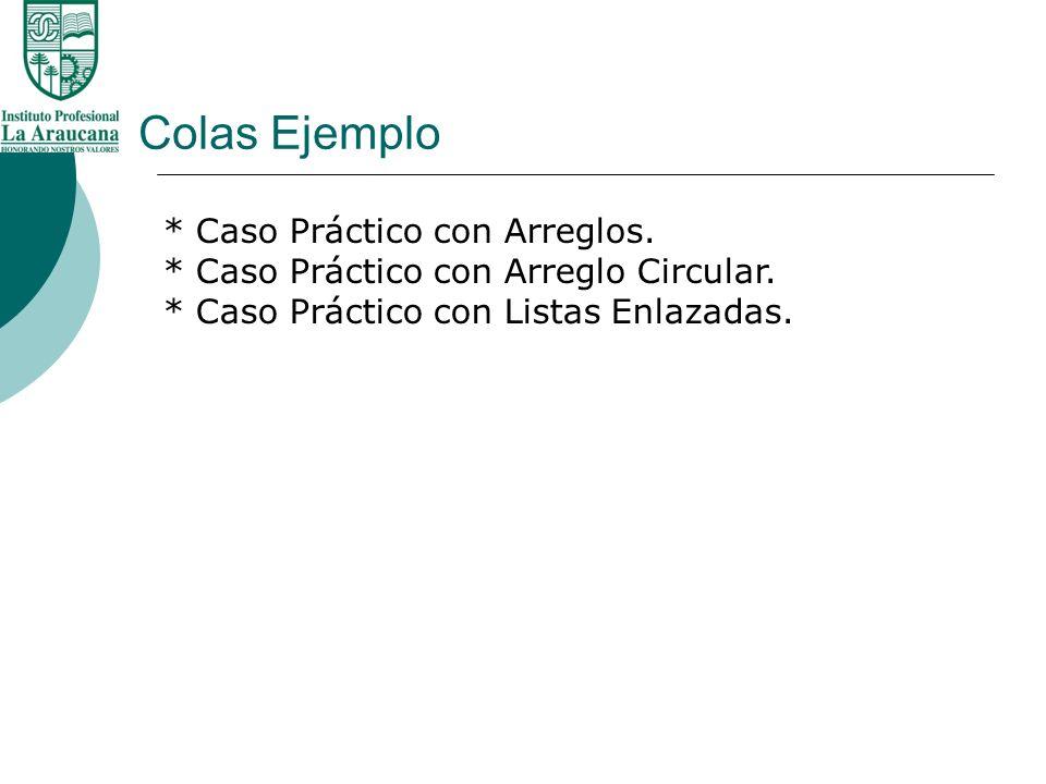 Colas Ejemplo * Caso Práctico con Arreglos. * Caso Práctico con Arreglo Circular. * Caso Práctico con Listas Enlazadas.