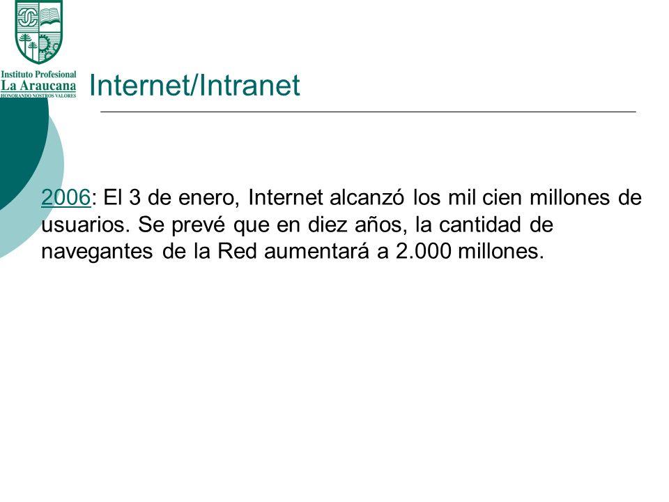 Internet/Intranet 20062006: El 3 de enero, Internet alcanzó los mil cien millones de usuarios. Se prevé que en diez años, la cantidad de navegantes de