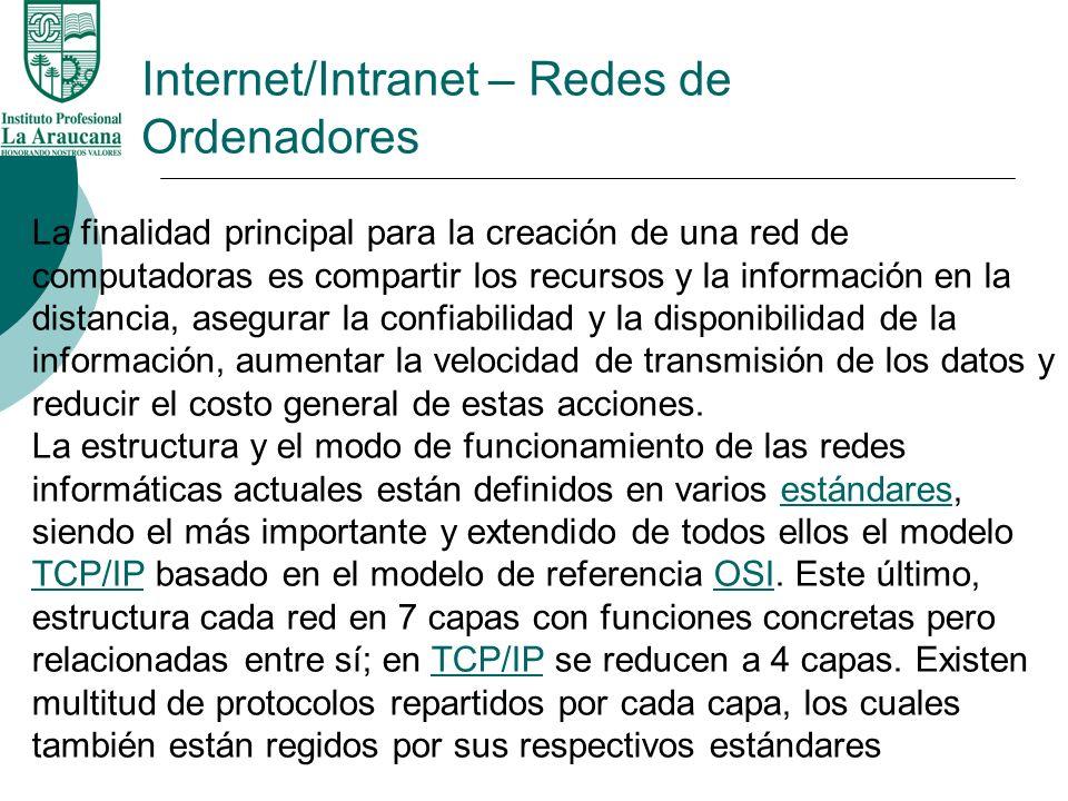 Internet/Intranet – Redes de Ordenadores La finalidad principal para la creación de una red de computadoras es compartir los recursos y la información