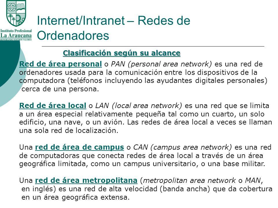 Internet/Intranet – Redes de Ordenadores Red de área personalRed de área personal o PAN (personal area network) es una red de ordenadores usada para l