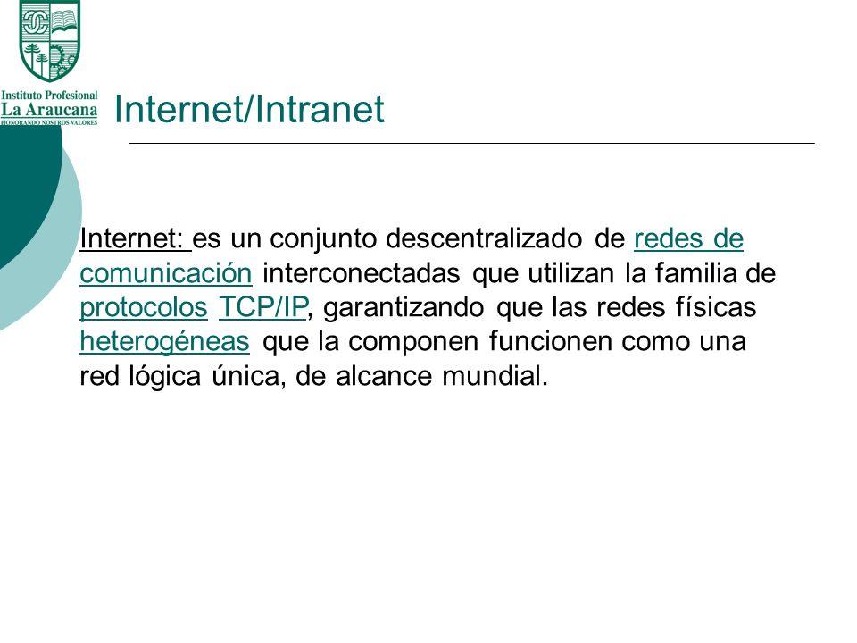 Internet/Intranet Internet: es un conjunto descentralizado de redes de comunicación interconectadas que utilizan la familia de protocolos TCP/IP, gara
