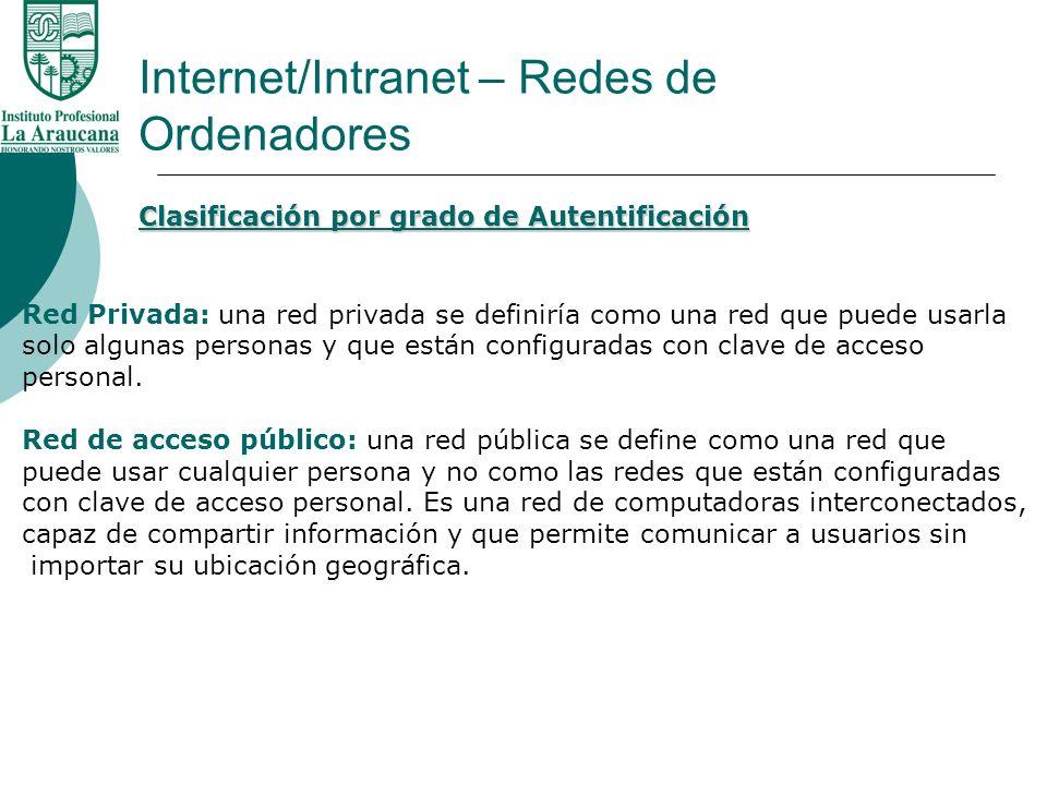 Internet/Intranet – Redes de Ordenadores Clasificación por grado de Autentificación Red Privada: una red privada se definiría como una red que puede u