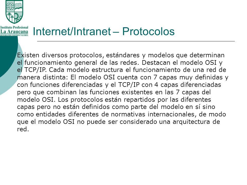 Internet/Intranet – Protocolos Existen diversos protocolos, estándares y modelos que determinan el funcionamiento general de las redes. Destacan el mo
