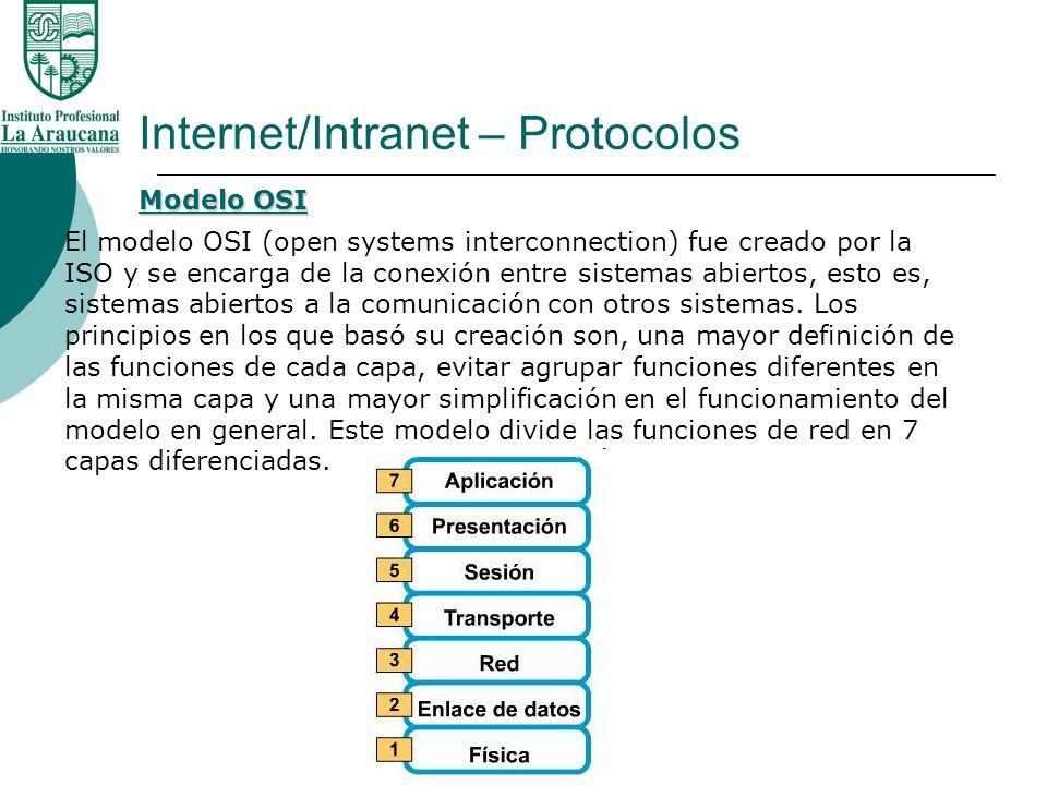 Internet/Intranet – Protocolos El modelo OSI (open systems interconnection) fue creado por la ISO y se encarga de la conexión entre sistemas abiertos,