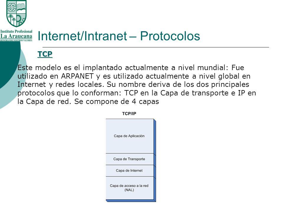 Internet/Intranet – Protocolos Este modelo es el implantado actualmente a nivel mundial: Fue utilizado en ARPANET y es utilizado actualmente a nivel g
