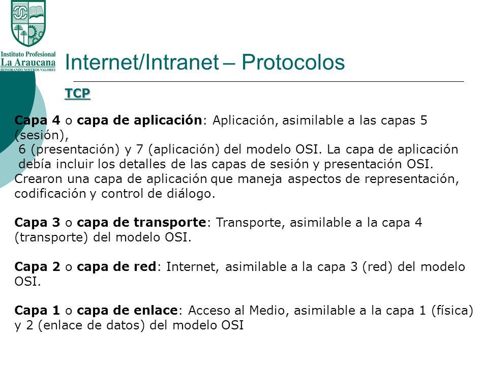 Internet/Intranet – Protocolos TCP Capa 4 o capa de aplicación: Aplicación, asimilable a las capas 5 (sesión), 6 (presentación) y 7 (aplicación) del m