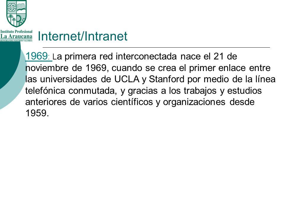1969 : L a primera red interconectada nace el 21 de noviembre de 1969, cuando se crea el primer enlace entre las universidades de UCLA y Stanford por