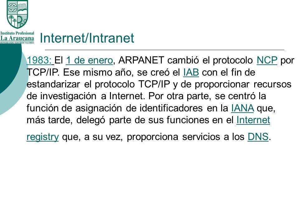 Internet/Intranet 1983: El 1 de enero, ARPANET cambió el protocolo NCP por TCP/IP. Ese mismo año, se creó el IAB con el fin de estandarizar el protoco