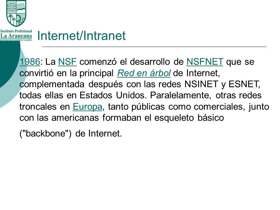 Internet/Intranet 19861986: La NSF comenzó el desarrollo de NSFNET que se convirtió en la principal Red en árbol de Internet, complementada después co