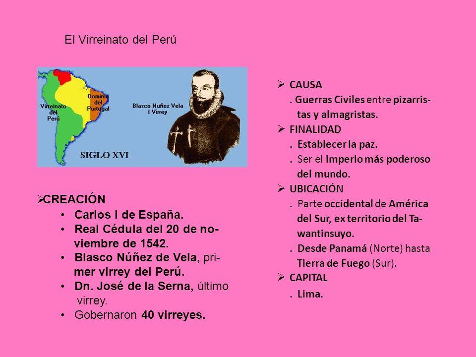 CONSEJO DE INDIAS EL VIRREY EN ESPAÑA EN LA COLONIA LA REAL AUDIENCIA (LIMA) EL CABILDO (EN CADA CIUDAD) LOS CORREGIMIENTOS (EN CADA PROVINCIA) Organización Política