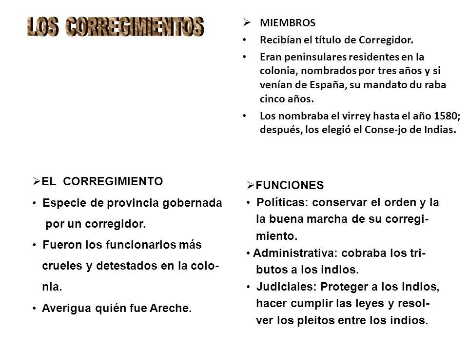 MIEMBROS Recibían el título de Corregidor. Eran peninsulares residentes en la colonia, nombrados por tres años y si venían de España, su mandato du ra