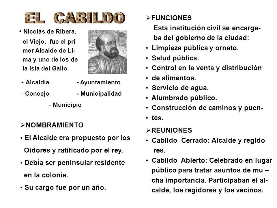 - Alcaldía- Ayuntamiento - Concejo- Municipalidad - Municipio NOMBRAMIENTO El Alcalde era propuesto por los Oidores y ratificado por el rey. Debía ser