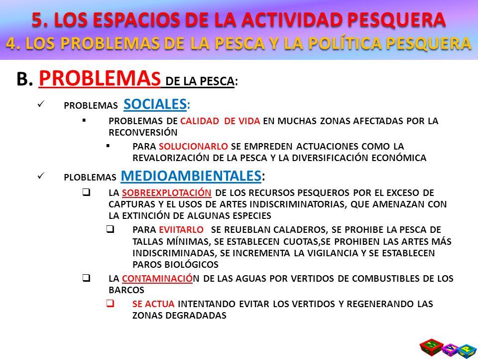 B. PROBLEMA S DE LA PESCA: PROBLEMAS SOCIALES : PROBLEMAS DE CALIDAD DE VIDA EN MUCHAS ZONAS AFECTADAS POR LA RECONVERSIÓN PARA SOLUCIONARLO SE EMPRED