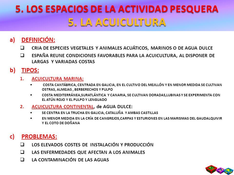 a)DEFINICIÓN: CRIA DE ESPECIES VEGETALES Y ANIMALES ACUÁTICOS, MARINOS O DE AGUA DULCE ESPAÑA REUNE CONDICIONES FAVORABLES PARA LA ACUICULTURA, AL DIS