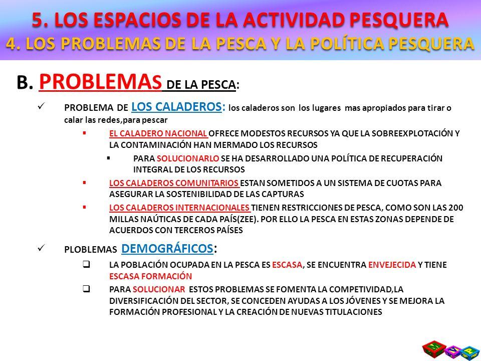B. PROBLEMA S DE LA PESCA: PROBLEMA DE LOS CALADEROS: los caladeros son los lugares mas apropiados para tirar o calar las redes,para pescar EL CALADER