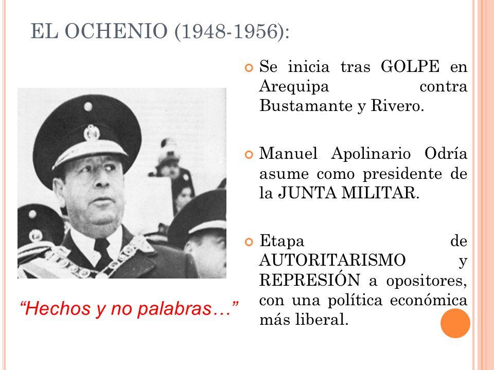 EL OCHENIO (1948-1956): Se inicia tras GOLPE en Arequipa contra Bustamante y Rivero. Manuel Apolinario Odría asume como presidente de la JUNTA MILITAR