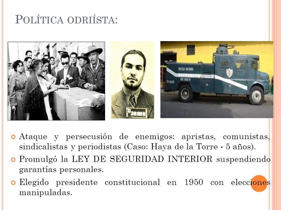 P OLÍTICAS S OCIALES DEL O CHENIO : Obras populistas: * Ampliar cobertura del Seguro Social.