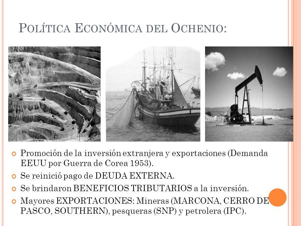 Promoción de la inversión extranjera y exportaciones (Demanda EEUU por Guerra de Corea 1953). Se reinició pago de DEUDA EXTERNA. Se brindaron BENEFICI