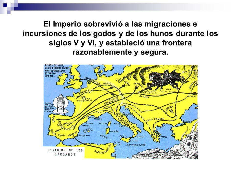El Imperio sobrevivió a las migraciones e incursiones de los godos y de los hunos durante los siglos V y VI, y estableció una frontera razonablemente