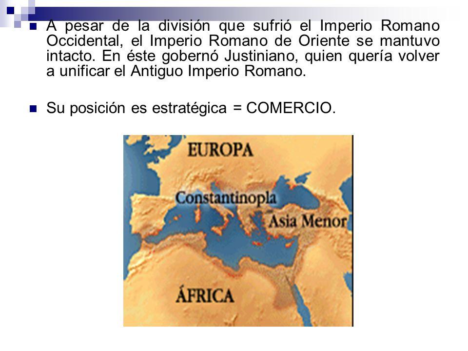 A pesar de la división que sufrió el Imperio Romano Occidental, el Imperio Romano de Oriente se mantuvo intacto. En éste gobernó Justiniano, quien que