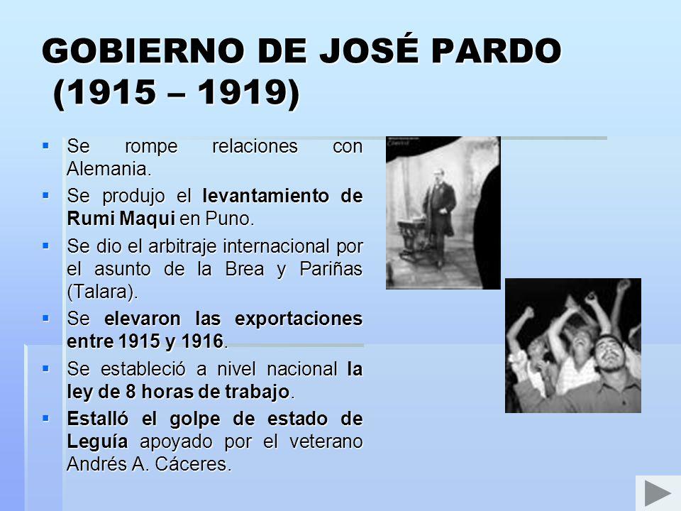 GOBIERNO DE OSCAR R. BENAVIDES (1914 – 1915) Gonzales Prada renuncia a la Dirección de la Biblioteca Nacional y edita su obra La Lucha. Crea los bille