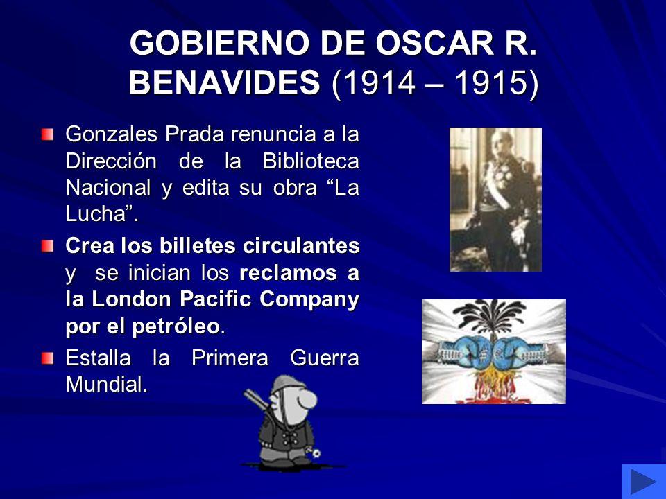 GOBIERNO DE GUILLERMO BILLINGHURTS (1912 – 1914) Fue conocido como El pan grande Fue conocido como El pan grande Quiso continuar las obras en ejecució