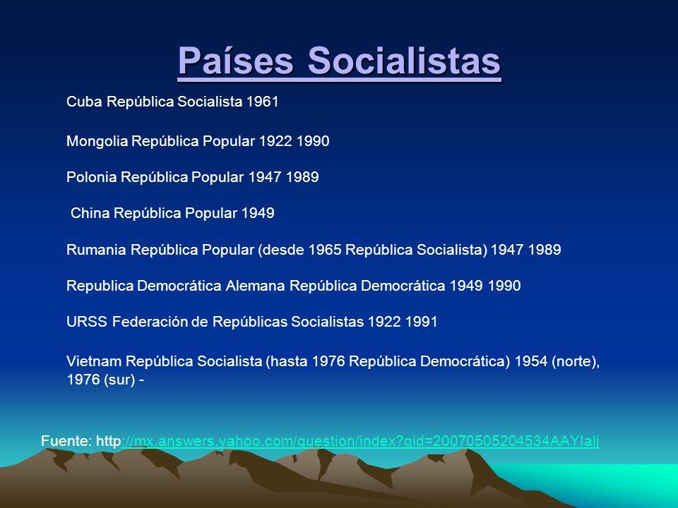 Países Socialistas Cuba República Socialista 1961 Mongolia República Popular 1922 1990 Polonia República Popular 1947 1989 China República Popular 194