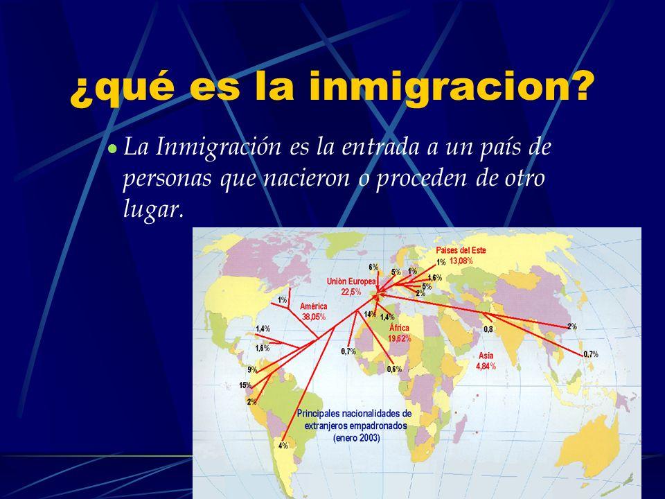 ¿qué es la inmigracion? La Inmigración es la entrada a un país de personas que nacieron o proceden de otro lugar.