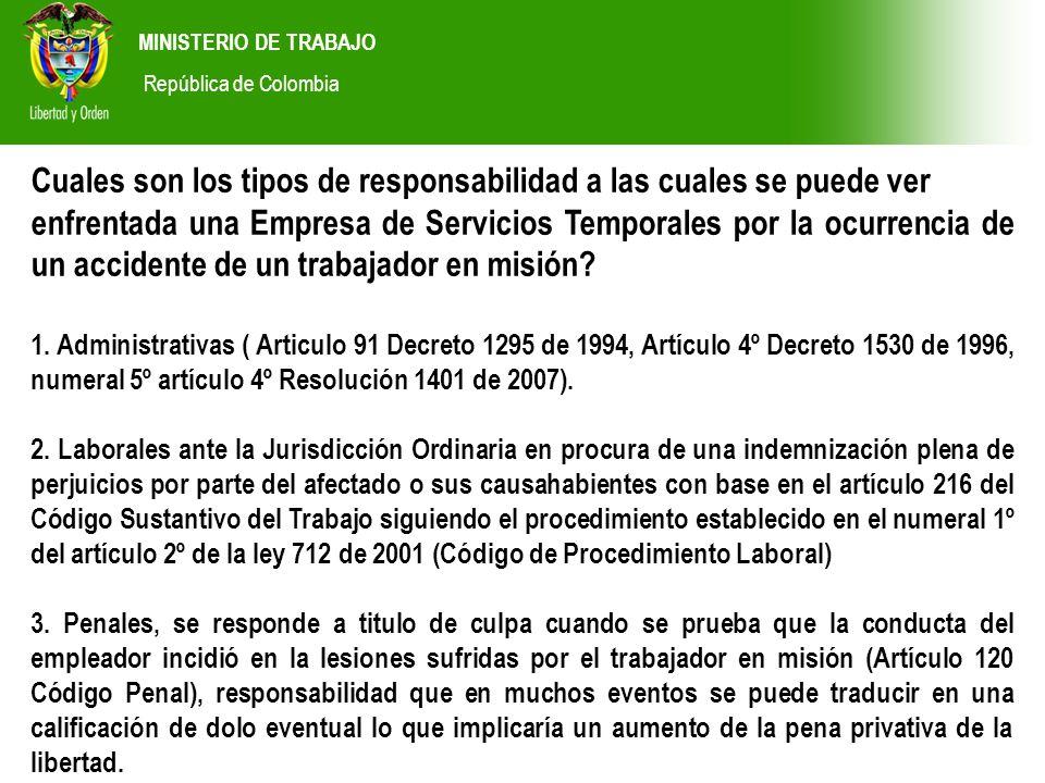 MINISTERIO DE TRABAJO República de Colombia Cuales son los tipos de responsabilidad a las cuales se puede ver enfrentada una Empresa de Servicios Temp